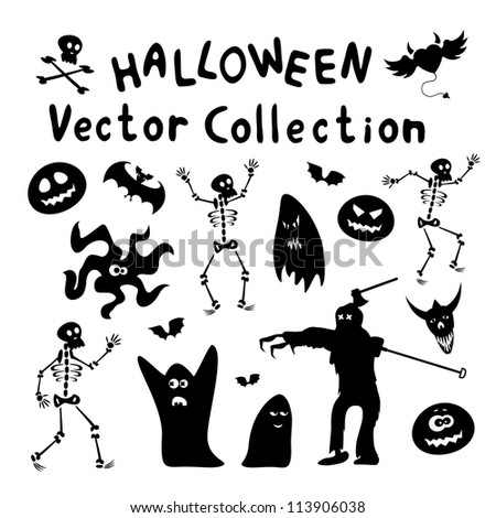 Collection of halloween silhouettes. Vector illustration