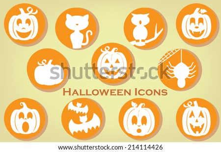 Collection of Halloween Themed Icons in Vintage Colors - stock vector