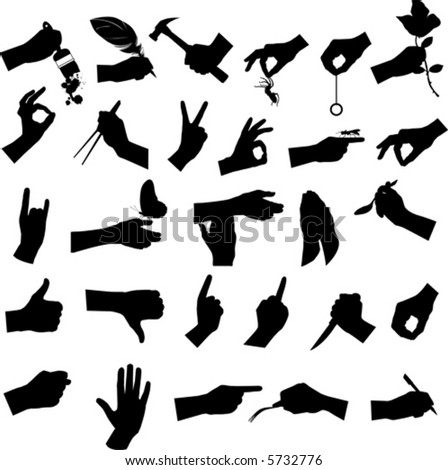 Collection of hand and tool, vector illustration. - stock vector