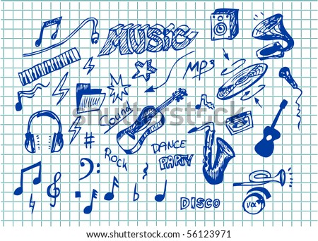 collection of hand draw music symbols - stock vector