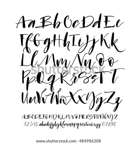 Collection Of Hand Drawn Alphabet Letters With Numbers Lowercase Uppercase