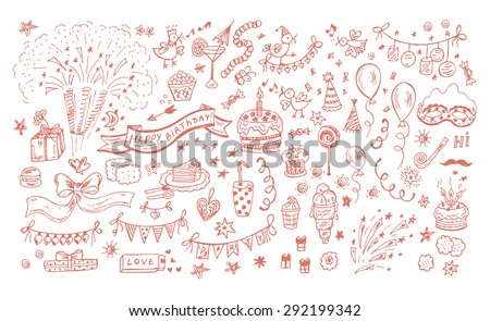 Collection of Hand drawn Birthday Party elements. Celebratory attributes - Vector illustration - stock vector