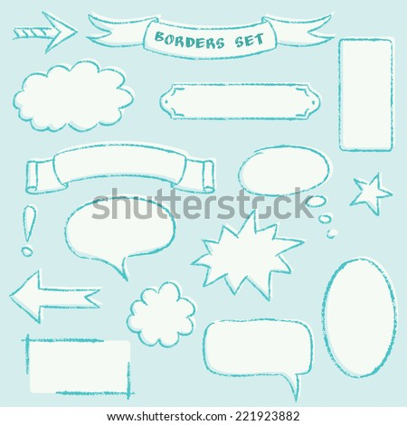 Collection of hand drawn borders and frames - stock vector