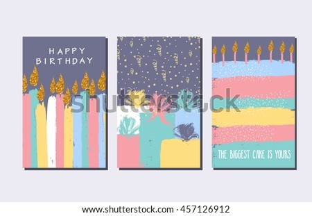 Creative Happy Birthday Cards Collection Hand Vector – Birthday Card Collection