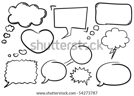 Collection of hand drawn comic book style vector chat bubbles. - stock vector