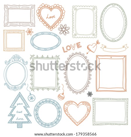 Collection of hand-drawn doodle frames  - stock vector