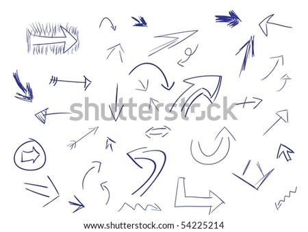 Collection of hand drawn doodle style vector arrows in various directions and styles. - stock vector