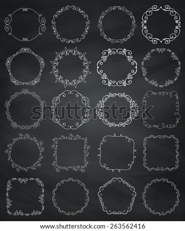 Collection of Hand Drawn Doodle Vintage Borders and Frames. Design Elements. Vector Illustration - stock vector