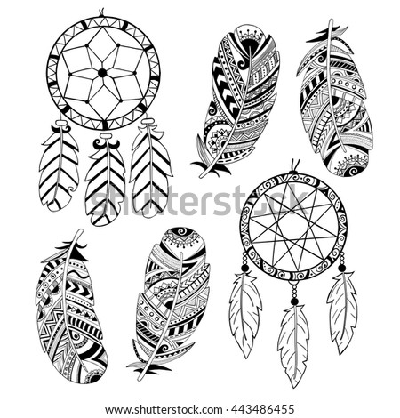 Dream Catchers Symbolism Collection Hand Drawn Feather Dreamcatchers Vector Stock Vector 35