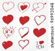 Collection of hand drawn hearts - stock vector