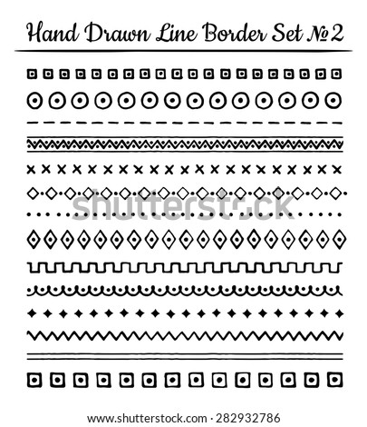 Collection of hand drawn line borders, Set of floral geometric ornaments and zigzags. Vector illustration. - stock vector
