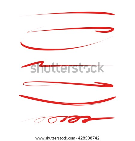 collection of hand drawn lines, brush lines, brush strokes, underlines - stock vector