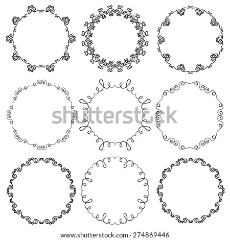 Collection of hand drawn ornamental circle frames. Vector illustration - stock vector