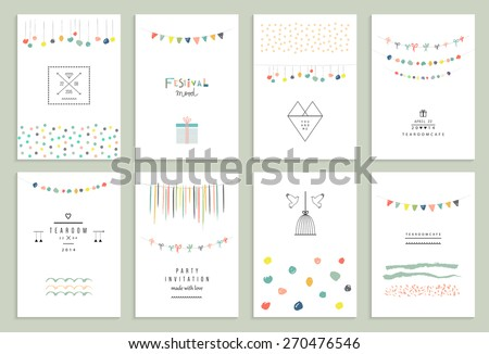 Collection of hand drawn party cards and invitations.  - stock vector