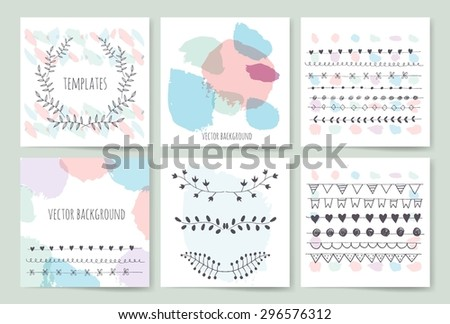 Collection of hand drawn party cards and invitations. Set of Trendy Posters with hand drawn Background. Modern design for Invitation. Hand Drawn Elements for Placards, Flyer - stock vector