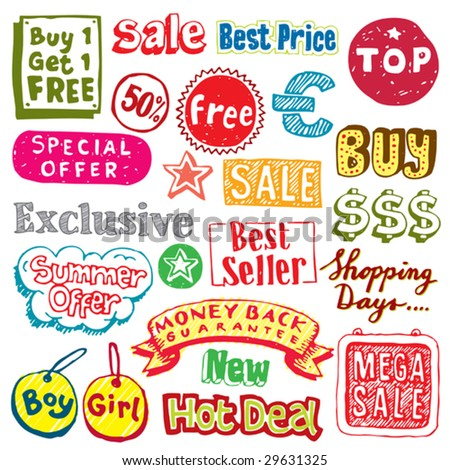 Collection of hand-drawn sale and shopping doodles. Visit my portfolio for more sale vectors. - stock vector