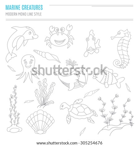 Collection of hand drawn sea creatures in modern mono line style on isolated white background. Cartoon dolphin, crab, fish, sea horse, octopus, shells, seaweed, sea turtle and whale. - stock vector