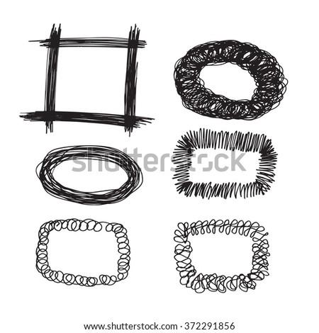 Collection of hand-drawn sketch frames for holiday design. Set vector illustration frames in doodle style sketch art. - stock vector