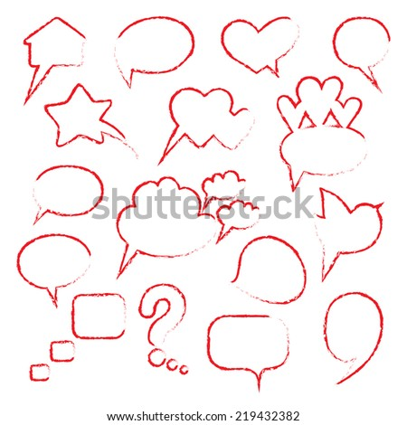 Collection of hand drawn speech bubbles.Vector illustration. - stock vector