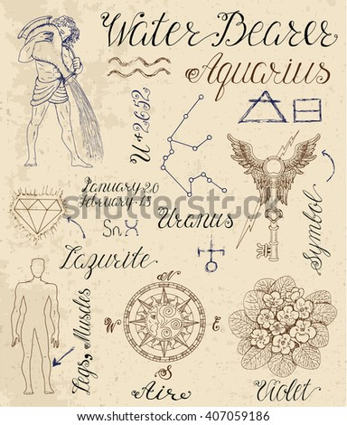 Collection of hand drawn symbols for astrological zodiac sign Aquarius or Water Bearer. Line art vector illustration of engraved horoscope set. Doodle drawing and sketch with calligraphic lettering - stock vector