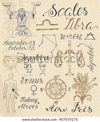 Collection of hand drawn symbols for astrological zodiac sign Scales or Libra. Line art vector illustration of engraved horoscope set. Doodle drawing and sketch with calligraphic lettering - stock vector