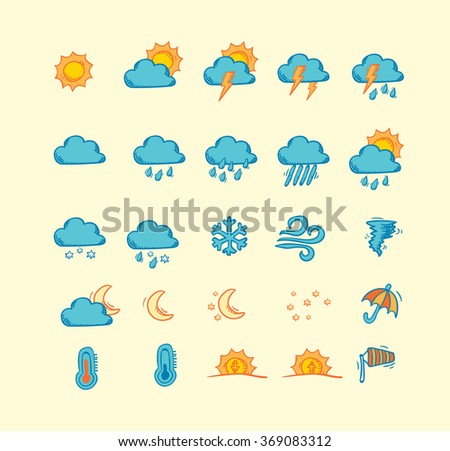 Collection of hand drawn weather forecast icons - stock vector