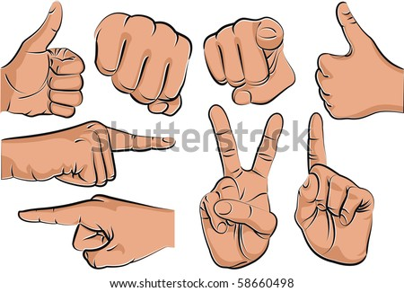 Collection of hand gestures - stock vector