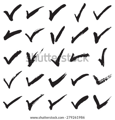Collection of 25 hand painted check marks (ticks). Vector illustration - stock vector