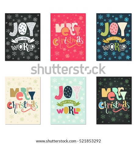 Collection Handdrawn Christmas Card Templates Hand Stock Vector