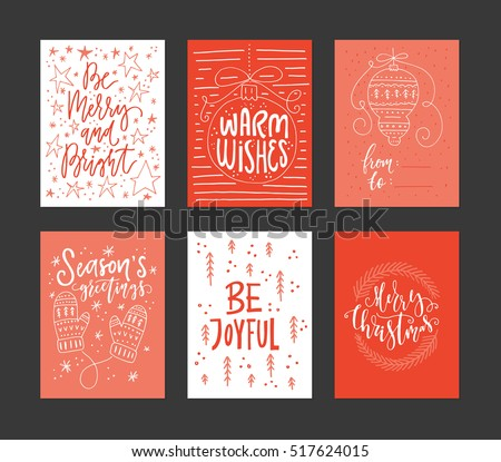 Collection Handdrawn Christmas Card Templates New Stock Vector