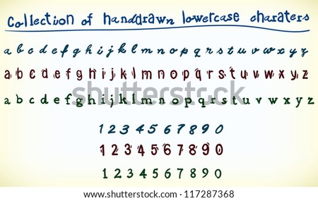 Collection of handrawn lowercase characters with both the alphabet and numerals in three different font styles on a white background