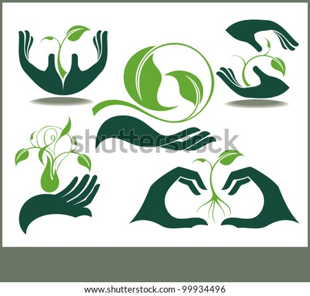 Collection of hands and plants - stock vector