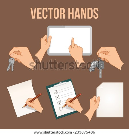 Collection of hands holding different business objects - stock vector
