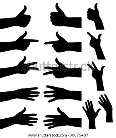 Collection of hands showing one to five. - stock vector