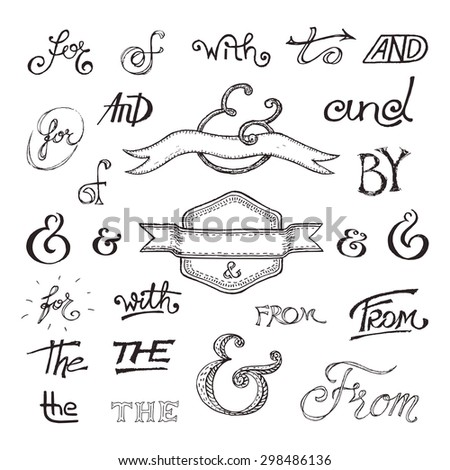 Collection of handwritten catchwords and ampersands. Vector illustration - stock vector