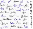 Collection of handwritten signatures. Personal contract fictitious signature set. - stock vector