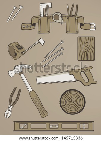 Collection of Handy Tool Vectors - stock vector