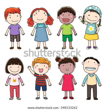 Collection of happy children - stock vector
