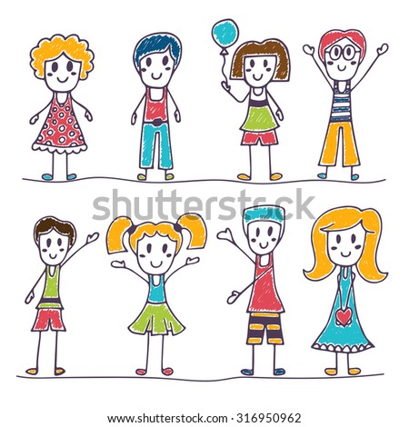 Collection of happy children. Hand drawn cute little kids. Vector illustration - stock vector