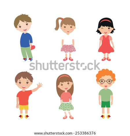 Collection of happy children isolated on white background - stock vector