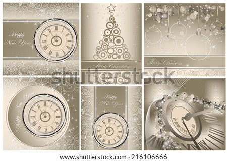 Collection of Happy New Year and Merry Christmas backgrounds - stock vector