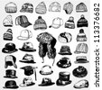 Collection of Hats Hand Drawn - stock vector