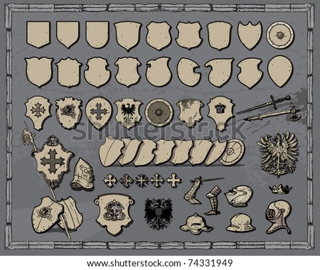 Collection of heraldic vectors - stock vector