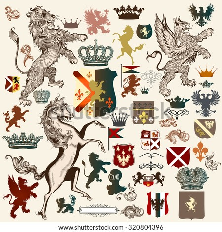 Collection of high detailed heraldic elements. Hand drawn lion, griffin, horse, shields, crowns, shapes and other elements - stock vector