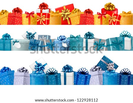 Collection of holiday banners with colorful gift boxes with bows. Vector illustration. - stock vector