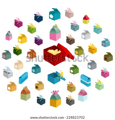 Collection of Holiday colorful different gift boxes, opened and closed, with labels and bows, big red is with gold coins. Just put gift inside. Forty design elements. Isolated objects. Vector is EPS8. - stock vector