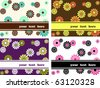 Collection of horizontal retro banners with large flowers (Eps10); jpg version also available - stock photo
