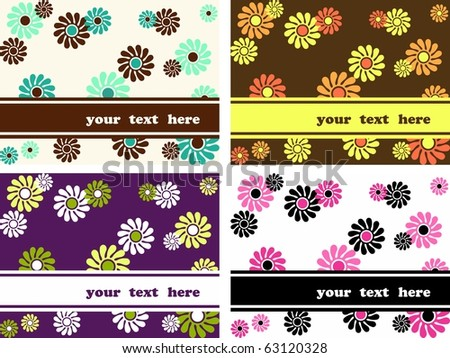 Collection of horizontal retro banners with large flowers (Eps10); jpg version also available - stock vector