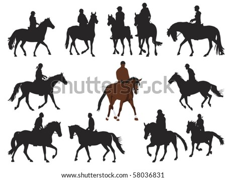 collection of horseback rider silhouettes - stock vector