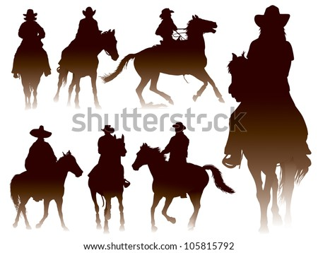 Collection of horseback riding silhouettes - stock vector